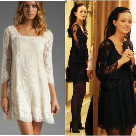 c6df047fb43 Anna Sui Cream Lace Dress 0 Blair Waldorf NWT